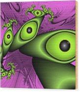 Surreal Green Eyes Fractal Wood Print