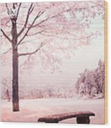 Surreal Infrared Dreamy Pink And White Park Bench Tree Nature Landscape Wood Print
