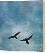 Surreal Ravens Crows Flying Blue Sky Stars Wood Print