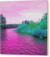 Surrreal Pink Waters Wood Print