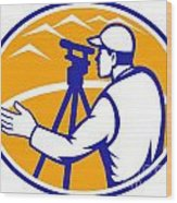 Surveyor Engineer Theodolite Total Station Wood Print by Aloysius Patrimonio