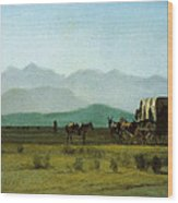 Surveyors Wagon In The Rockies Wood Print