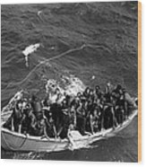 Survivors Of Uss Princeton In Life Boat Wood Print