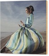 Editha Dussler Posing On A Beach Wood Print