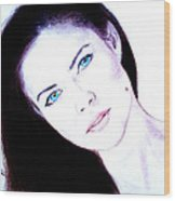 Susan Ward Blue Eyed Beauty With A Mole II Wood Print by Jim Fitzpatrick