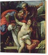 Susanna And The Elders Wood Print by Giuseppe Bartolomeo Chiari