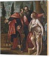 Susannah And The Elders Wood Print
