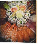 Sushi Tray Wood Print
