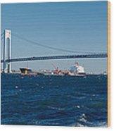 Suspension Bridge Over A Bay Wood Print