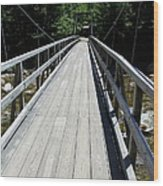Suspension Bridge Over Pemigewasset River Nh Wood Print