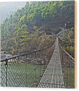 Suspension Bridge Over The Seti River In Nepal Wood Print