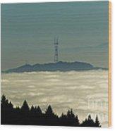 San Francisco's Sutro Tower Across The Sea Of Fog Wood Print