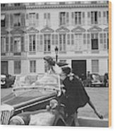 Suzy Parker Outside The French Vogue Office Wood Print