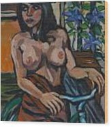 Suzy With Clematis Wood Print