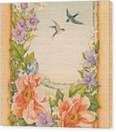 Swallows And Peonies Wood Print