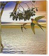 Swallows At Sunset Wood Print