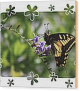 Swallowtail 4 With Flower Framing Wood Print