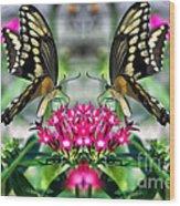 Swallowtail Butterfly Digital Art Wood Print
