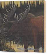 Swamp Moose Wood Print