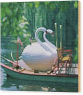Swan Boats In A Lake, Boston Common Wood Print