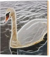 Swan In The Water Fractal Wood Print