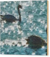 Swan Lake Wood Print by Ayse Deniz