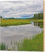 Swan Lake In Grand Teton National Park-wyoming  Wood Print