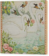 Swan Romance Wood Print