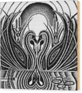 Swan Song  Wood Print by Barb Cote