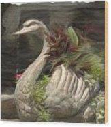Swan With Beautiful Flowers Wood Print