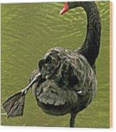 Swan Yoga Wood Print by Rona Black