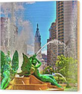 Swann Memorial Fountain - Hdr Wood Print