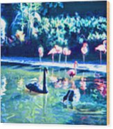 Swans And Flamingos Wood Print