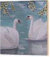 Swans On Pond Wood Print by Kat Poon
