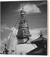 Swayambhunath Temple Black And White Wood Print by Raimond Klavins