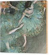 Swaying Dancer .dancer In Green Wood Print