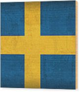 Sweden Flag Vintage Distressed Finish Wood Print