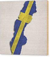 Sweden Map Art With Flag Design Wood Print