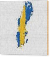 Sweden Painted Flag Map Wood Print