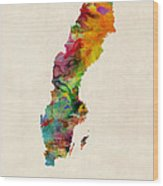 Sweden Watercolor Map Wood Print