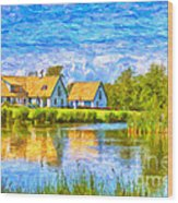 Swedish Lakehouse Wood Print