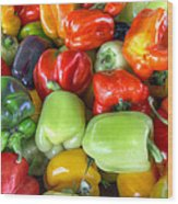 Sweet Bell Peppers Assorted Colors Wood Print