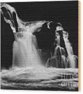 Sweet Creek Falls Oregon Monochrome Wood Print