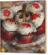 Sweet - Cupcake - Red Velvet Cupcakes  Wood Print by Mike Savad