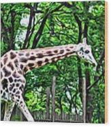 Sweet Giraffe Wood Print
