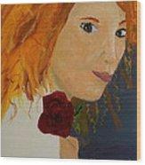 Sweet Lady Holding A Rose Wood Print