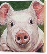 Sweet Little Piglet On Green Wood Print