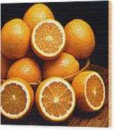 Sweet Oranges Whole And Halved Wood Print