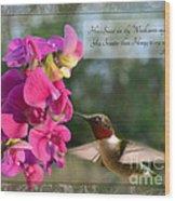 Sweet Pea Hummingbird Iv With Verse Wood Print