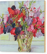 Sweet Peas In A Vase Wood Print